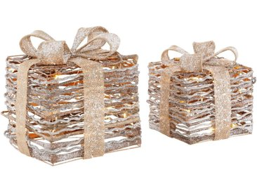 LED Dekolicht »Geschenkbox«, 2-teilig, mit Glitter