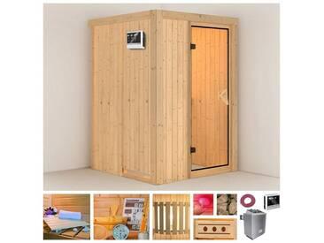 KONIFERA Sauna »Linda«, 136/136/198 cm, 68 mm, 9-kW-Ofen mit ext. Steuerung, natur, 9-kW-Ofen mit externer Steuerung, natur