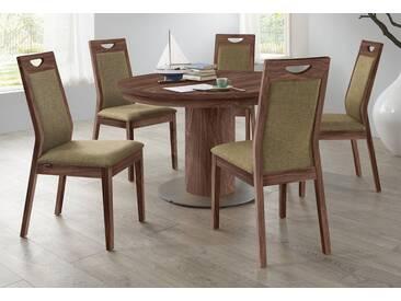 VENJAKOB Säulen-Kulissentisch mit Auszugsfunktion »my home«, runde Tischplatte, Ø 100 cm, braun, Nussbaum