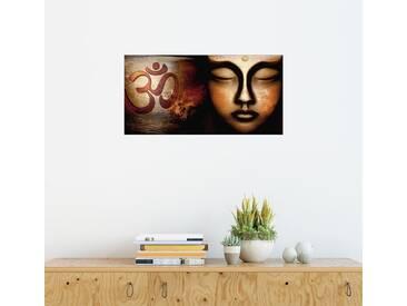 Posterlounge Wandbild - Christine Ganz »Siddhartha mit Om Zeichen«, schwarz, Holzbild, 160 x 80 cm, schwarz