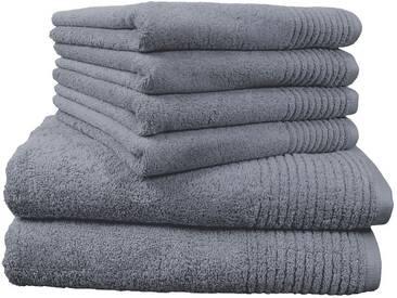 Dyckhoff Handtuch Set, »Brillant«, mit Streifenbordüre, grau, 6tlg.-Set A (siehe Artikeltext), grau