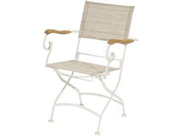 Ploß PLOSS Gartenstuhl »Rom«, Textil/Eisen/Teak, klappbar, grau, 1 Stuhl, taupe/weiß
