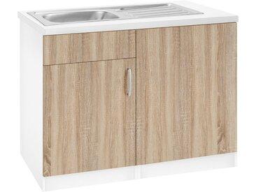 wiho Küchen Spülenschrank »Brilon« inkl. Tür/Sockel für Geschirrspüler, Breite 110 cm, braun, eichefarben
