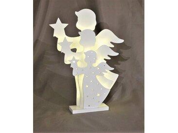 HGD Holz-Glas-Design 3D-Engel aus Holz, weiß, Weiß