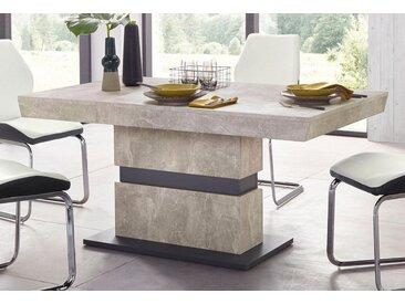 Homexperts Säulen-Esstisch »Marley Az«, ausziehbar, in 2 Größen (140 + 160), grau, mit Auszug, Tischplatte: Holzwerkstoff, Tischplatte: Holzwerkstoff