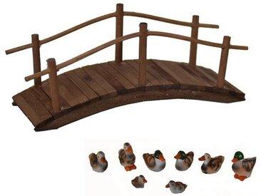 Alfred Kolbe Krippen-Zubehör »Holzbrücke und Entenset« (Set, 9 Stück)