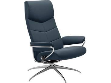 Stressless® Hochlehner Relaxsessel »Dublin« mit Star Base, in 2 Höhen, mit Schlaffunktion, blau, High Base, atlantic blue BATICK