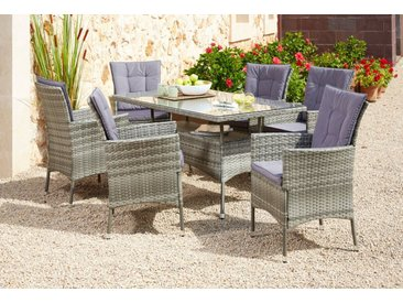 KONIFERA Gartenmöbelset »Santiago New«, 19-tlg., 6 Sessel, Tisch 150x80 cm, Polyrattan, grau, grau