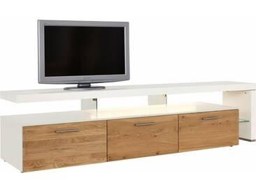 NETFURN BY GWINNER Lowboard mit TV-Brücke »SOLANO«, Lack weiß, mit 3 Schubladen, Breite 228 cm, natur, TV-Bank rechts, Mit Beleuchtung