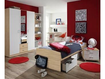 rauch PACK´S Jugendzimmer »Point«, 4-teilig, natur, struktureichefarben hell/weiß