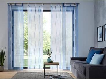 my home Schiebegardine »Dimona«, Schlaufen (2 Stück), inkl. Beschwerungsstange, blau, Schlaufen, transparent, blau-weiß