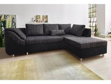 COLLECTION AB Ecksofa, mit Bettfunktion und Bettkasten, schwarz, 256 cm, Ottomane beidseitig montierbar, schwarz/schwarz-weiß