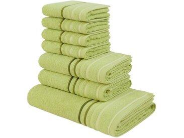 my home Handtuch Set »Niki«, mit Streifenbordüren (7tlg.-Set), grün, 7tlg.-Set, grün
