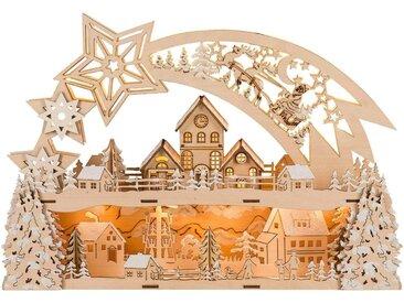 HGD Holz-Glas-Design Lichterbogen Weihnachtsstern für Batterie- und Netzbetrieb, natur, Natur