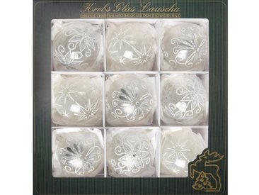 Krebs Glas Lauscha Weihnachtsbaumkugel »Dekor« (9 Stück), mundgeblasen