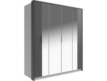 Fresh To Go Wimex Falt-/Drehtürenschrank »Berlin«, mit Passepartout-Rahmen, grau, Breite 184 cm, 2 Spiegel, Alufarben/graphit