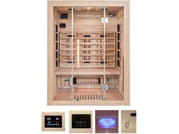 HOME DELUXE Infrarotkabine »Sahara L«, B/T/H: 150/120/190 cm, mit Dachkranz, für bis zu 3 Personen, natur, natur