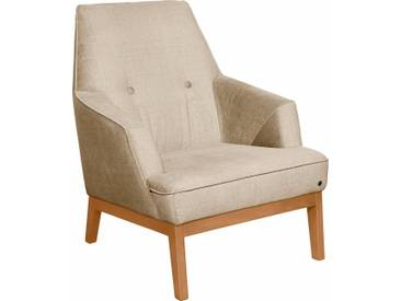 TOM TAILOR Sessel »COZY«, im Retrolook, mit Kedernaht und Knöpfung, Füße Buche natur, gelb, sahara STC 2
