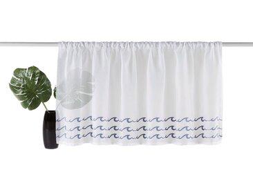 my home Scheibengardine »Wave«, Stangendurchzug (1 Stück), weiß, Stangendurchzug, transparent, weiß-blau