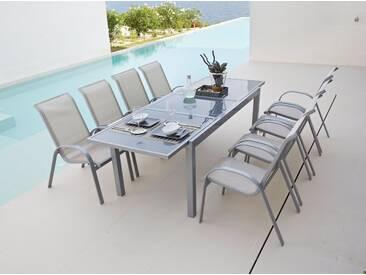 MERXX Gartentisch »Amalfi«, Aluminium, ausziehbar, grau, 180/240 cm x 100 cm, hellgrau