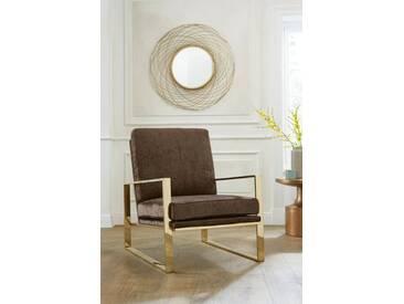 Guido Maria Kretschmer Home&Living GMK Home & Living Sessel »Melnwai«, mit elegantem, vergoldetem Metallgestell und weichem Samtchenille Bezug, braun