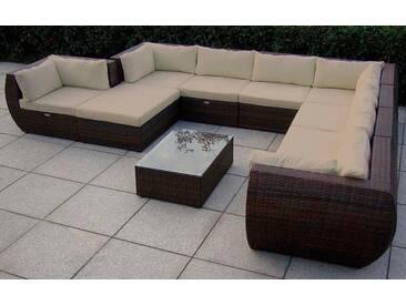 Baidani BAIDANI Loungeset »Extreme«, 1 XXL Sofa, 1 Hocker, Tisch, Polyrattan, braun, braun/taupe