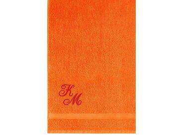 Lashuma Badetuch »Linz«, XXL Saunahandtuch Bestickt mit Monogramm, Persönliches Liegetuch 100x150 cm, orange, orange