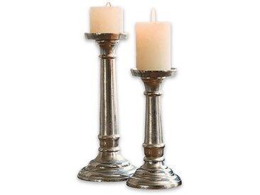 Loberon Kerzenständer 2er Set »Symone«, silberfarben, antiksilber