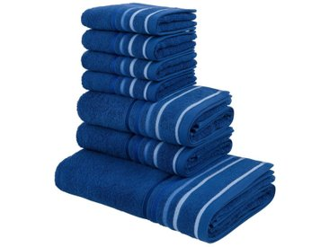 my home Handtuch Set »Niki«, mit Streifenbordüren (7tlg.-Set), blau, dunkelblau