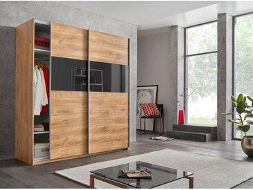 Wimex Schwebetürenschrank »Bramfeld« mit Glaselementen und zusätzlichen Einlegeböden, natur, plankeneiche/Absetzung Grauglas