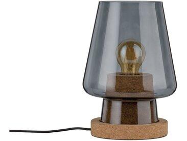 Paulmann LED Tischleuchte »Iben Rauchglas/Kork max. 20W E27«, 1-flammig, grau, Ø19 cm / H:25,5 cm, 1 -flg. /, rauchgrau