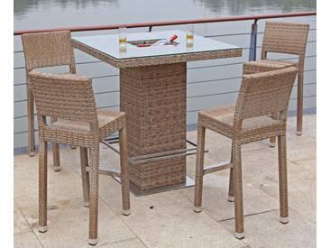 Garden Pleasure GARDEN PLEASURE Bar-Set »ALVITO«, 5-tlg., 4 Barhocker, Tisch, Polyrattan, braun, sandfarben