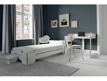 Müller Design Liege »STAPELLIEGE« Komforthöhe, Designklassiker seit 1966, weiß, weiß mit Birkenkante