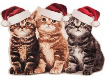 HANSE Home Fußmatte »Weihnachtskatzen«, rechteckig, Höhe 7 mm, Konturmatte, braun, 7 mm, braun