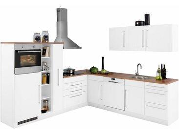 HELD MÖBEL Winkelküche »Samos«, mit E-Geräten, Stellbreite 260 x 270 cm mit Stangengriffen aus Metall, weiß, weiß