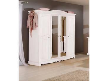 Home affaire Kleiderschrank »Romantika« aus massiver Kiefer, weiß, 4-türig, Breite 191,5 cm, weiß