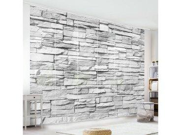 Bilderwelten Schiebegardinen Set »Ashlar Masonry«, grau, Wandhalterung, 250 x 360cm (6 Vorhänge), Grau