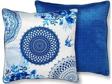 hip Dekokissen »Grande«, mit Mandala und Spatzen, blau, Microfaser, blau