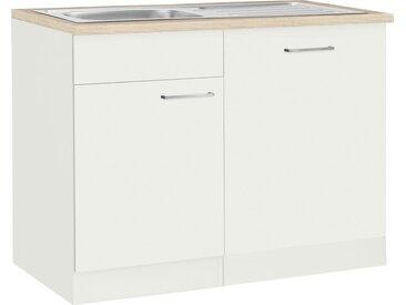 wiho Küchen Spülenschrank »Zell« Breite 110 cm, inkl. Tür/Sockel für Geschirrspüler, weiß, weiß/weiß