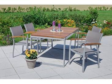 MERXX Gartenmöbelset »Naxos«, 5tlg., 4 Sessel, Tisch, stapelbar, ausziehbar, Akazien, natur, natur