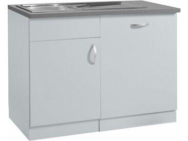 wiho Küchen Spülenschrank »Amrum« 110 cm breit, inkl. Tür/Sockel für Geschirrspüler, grau, Hellgrau/Hellgrau