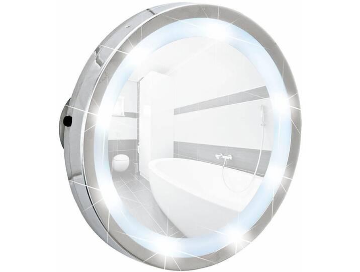 WENKO LED Leuchtspiegel Mosso, mit 3 Saugnäpfen, 3-fach Vergrößerung, silberfarben, Chrom