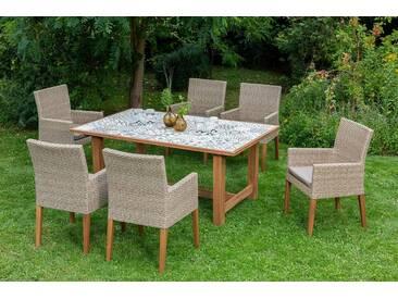 MERXX Gartenmöbelset »Torino«, 13-tlg., 6 Sessel, Tisch 172x105 cm, Polyrattan/Akazie, natur, naturfarben