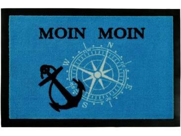 HANSE Home Fußmatte »Moin Moin«, rechteckig, Höhe 7 mm, rechteckig, blau, 7 mm, blau