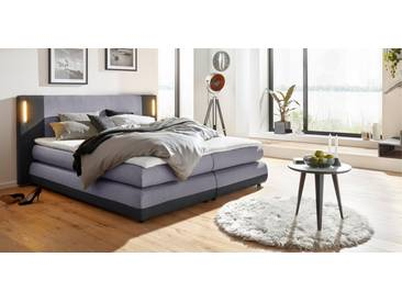 COLLECTION AB Collection AB Boxspringbett »Abano«, inkl. LED-Beleuchtung und Topper, grau