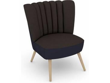 Max Winzer® build-a-chair Stuhlsessel »Aspen« im Retrolook, zum Selbstgestalten, braun, Korpus: Flachgewebe 16452 dunkelblau, Flachgewebe 16452 schoko