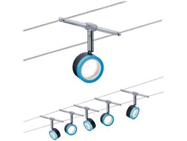 Paulmann LED Deckenleuchte »Seilsystem BlueLED 5x4W Schwarz/Blau/Chrom«, Seilsystem, 5-flammig, schwarz, 5 -flg. /, schwarz-blau-chromfarben