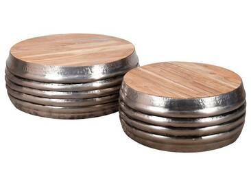 SalesFever Couchtisch 2er-Set rund aus Holz und Stahl »Dorian«, natur, Natur