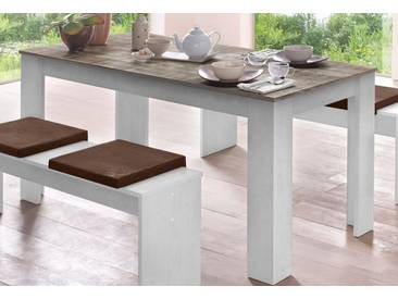 Mäusbacher Tisch, weiß, eichefb. geweißt/Vintage