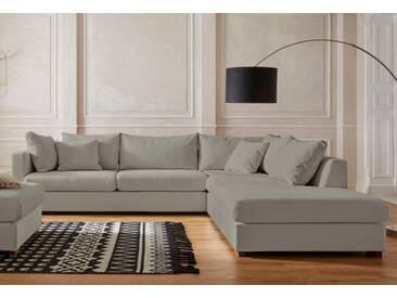 Guido Maria Kretschmer Home&Living Ecksofa »Arles«, Bezug im Baumwoll-/Leinenmix, mit Eichenbeinen, grau, 318 cm, Ottomane rechts, hellgrau